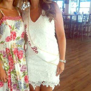 Bardot white appliqué lace mini dress size XS